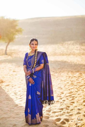 Royal blue wedding saree for bride