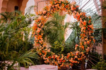 Floral wreath seating for haldi.