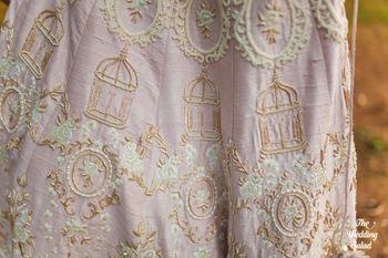 Elegant light pink bridal lehenga by The Little Black Bow