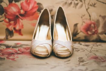 Photo of gold bridal shoes by Madden Girl