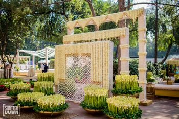 Mogra decor at the entrance for a day sangeet ceremony