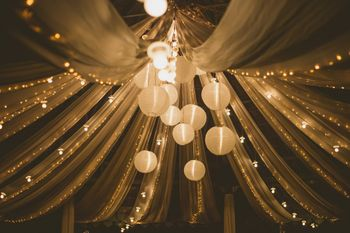 Lantern decor hanging from ceiling