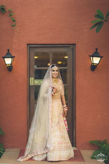 Pretty light pink lehenga for wedding