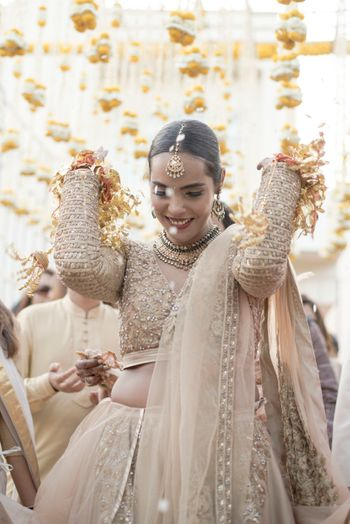 Offbeat beige bridal lehenga