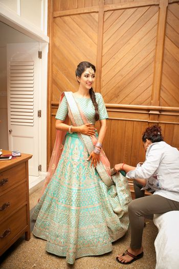 Aqua and Peach Light Lehenga with Gotapatti Work
