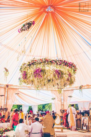 Floral chandelier mandap decor ideas