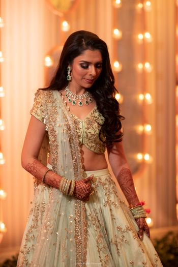 Photo of Sangeet bridal look in light green lehenga