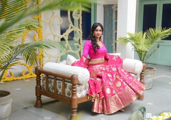 Bright pink benarasi lehenga for engagement