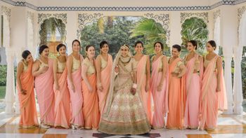 Photo of Bride with bridesmaids on wedding day