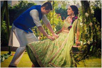 Photo of shimmery green lehenga