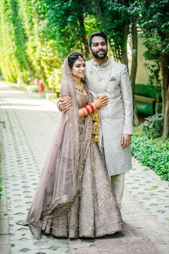 Offbeat bride and groom colours in lilac