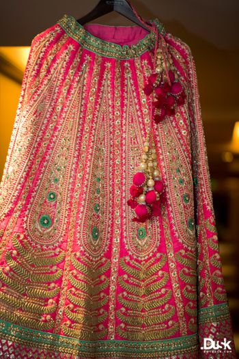 bright pink and turquoise lehenga
