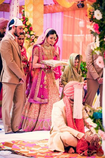 Photo of Sikh Bride - Coral Shimmer and Hot Pink Lehenga