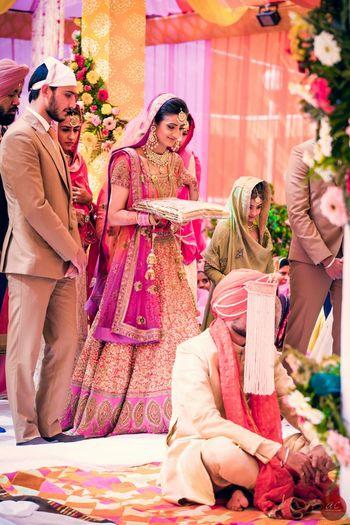 Sikh Bride - Coral Shimmer and Hot Pink Lehenga