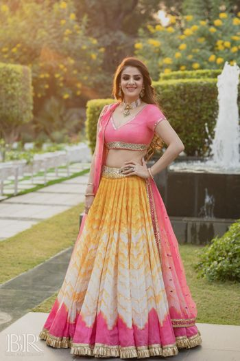 sister of the bride outfit with pink and yellow combination