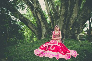red and pink bridal lehenga