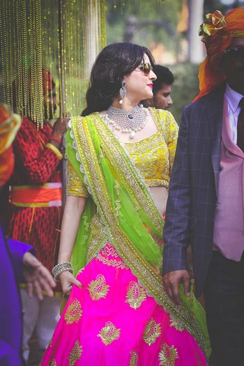Photo of pink and yellow lehenga