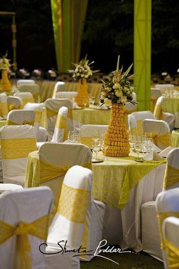 Photo of yellow flower arrangement