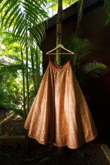 burnt orange sabyasachi lehenga on hanger