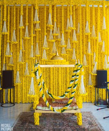 Genda phool decor for a roka ceremony at home