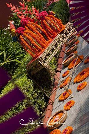 Photo of genda flower table setting