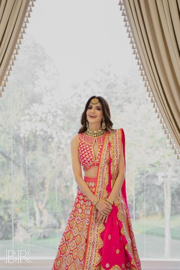 hot pink abu jani lehenga for mehendi or haldi