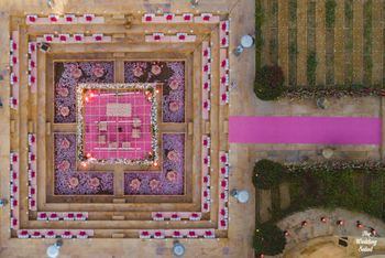 pink unique mandap with drone photography