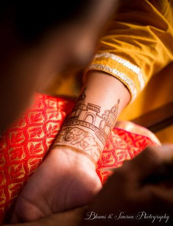 Photo of Personalised bridal mehendi design with elephants