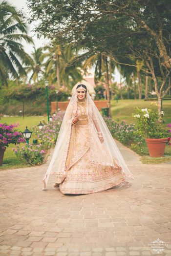 Stunning pastel pink lehenga for wedding day