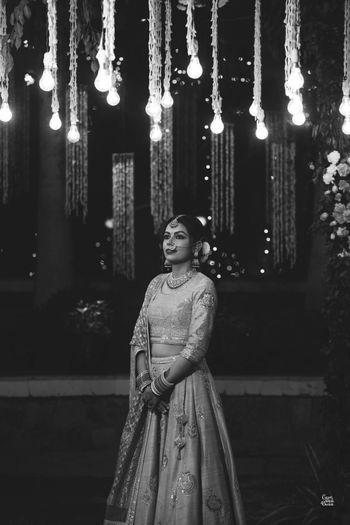 Photo of A beautiful monochrome bridal portrait.