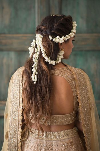 Gajra hairstyle with open hair