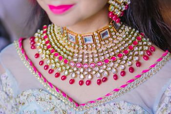 A bridal pink and white choker