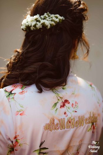 Photo of Cute bridal robe with wedding hashtag