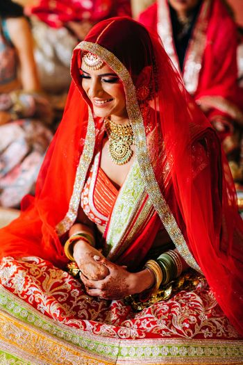 Photo of Gorgeous bridal portrait of a bride during Anand Karaj
