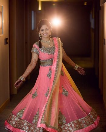 Light Pink and Silver Shaded Twirling Lehenga