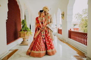 Sabyasachi bride and groom couple shot