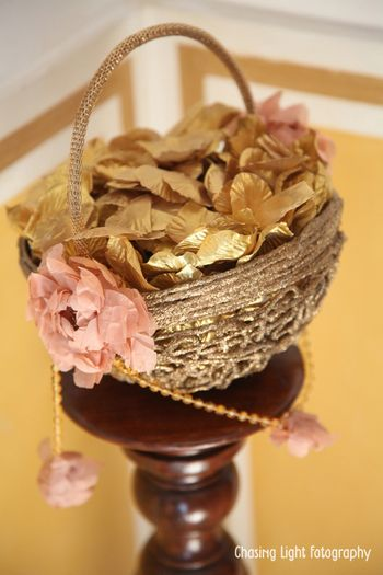 Basket with Gold and Pink Origami Flowers and Leaves