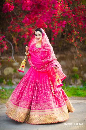 Fuschia pink bridal lehenga