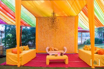Photo of Yellow Mehendi theme decor