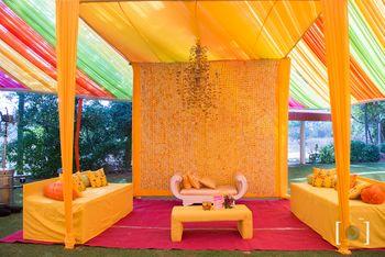Photo of Yellow Mehendi theme decor