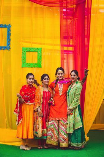 Mehendi day with bridesmaids