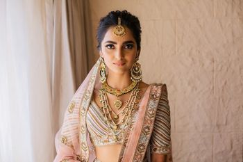 Photo of Bridal portrait with nude bridal makeup