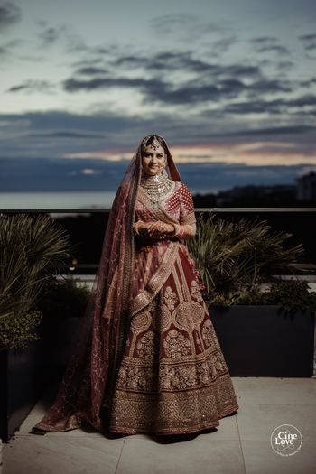 bride in offbeat turkish rose lehenga