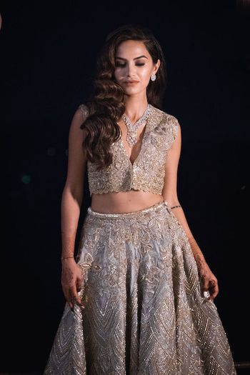 Photo of Silver sangeet lehenga with diamond necklace