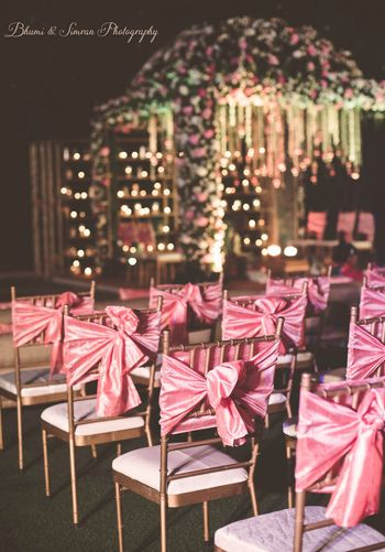 Pink and green mandap decor