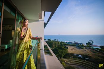 Photo of A serene bridal portrait captured in the balcony.