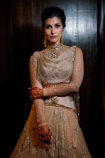 Indo western beige outfit for bride