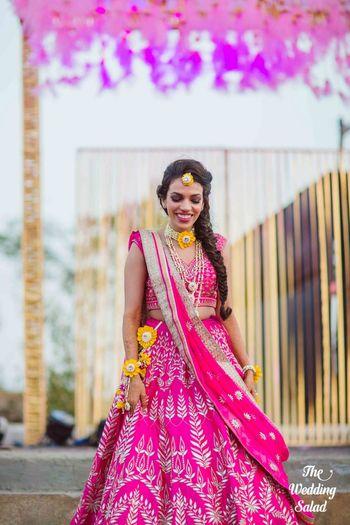 Bright pink Anita Dongre gota patti lehenga for mehendi