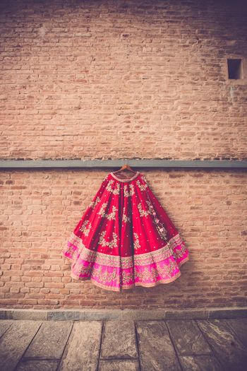 Photo of Red and Pink Hanging Lehenga by Anushree Reddy