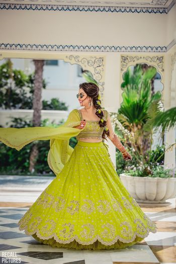 Photo of Happy bride in lime green anushree reddy lehenga